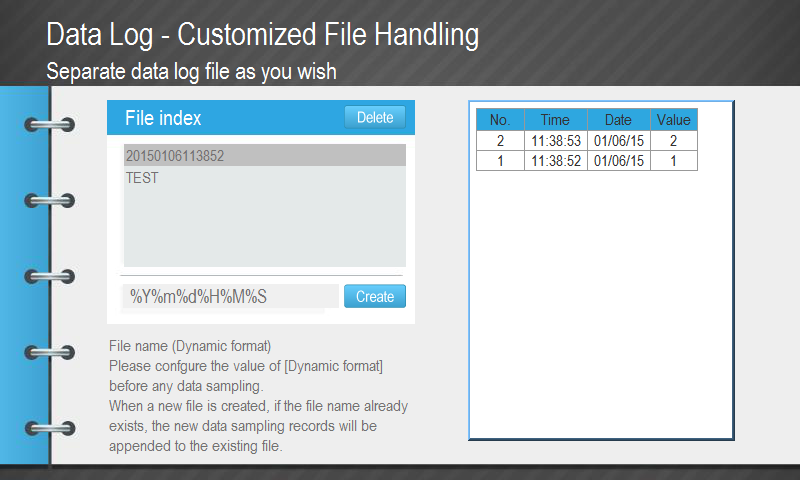 Data Log Customized File Handling Demo